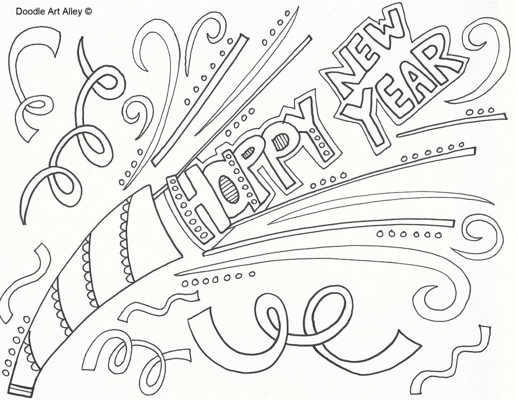 Happy New Year Coloring Page | coloring pages | Pinterest | Doodles ...