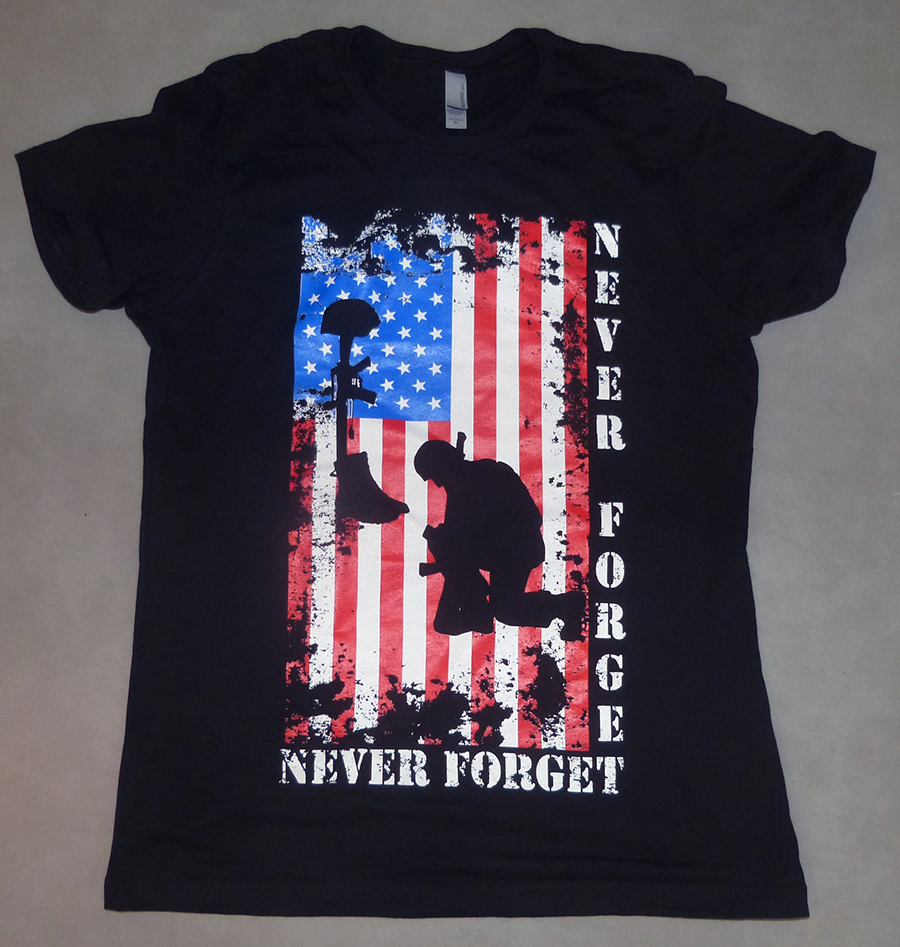 Women's Christian T-shirt- Never Forget Veterans Tribute version two Christian T-shirt- Never Forget Veterans Tribute version two. This Christian T-shirt is version two of one of our favorite shirts. It is dedicated to all the men and women in every branch of the military that serve and protect our country! Thank You all for your service and for making the sacrifices that allow us to live free and safe! God Bless you all