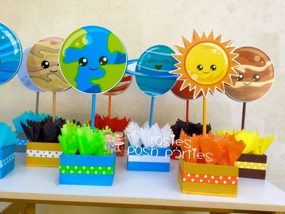 Blast Off Outer Space birthday party Planets Outer Space Solar System wood guest table centerpiece decoration solar centerpiece SET OF 9 #outerspaceparty