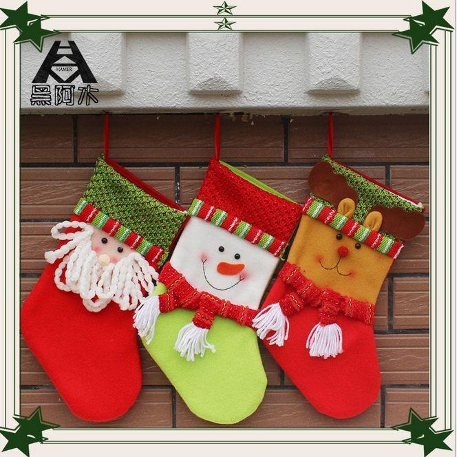 1Pcs Creative 3D Christmas Decoration Gift Christmas Socks Gift Bags - christmas decors