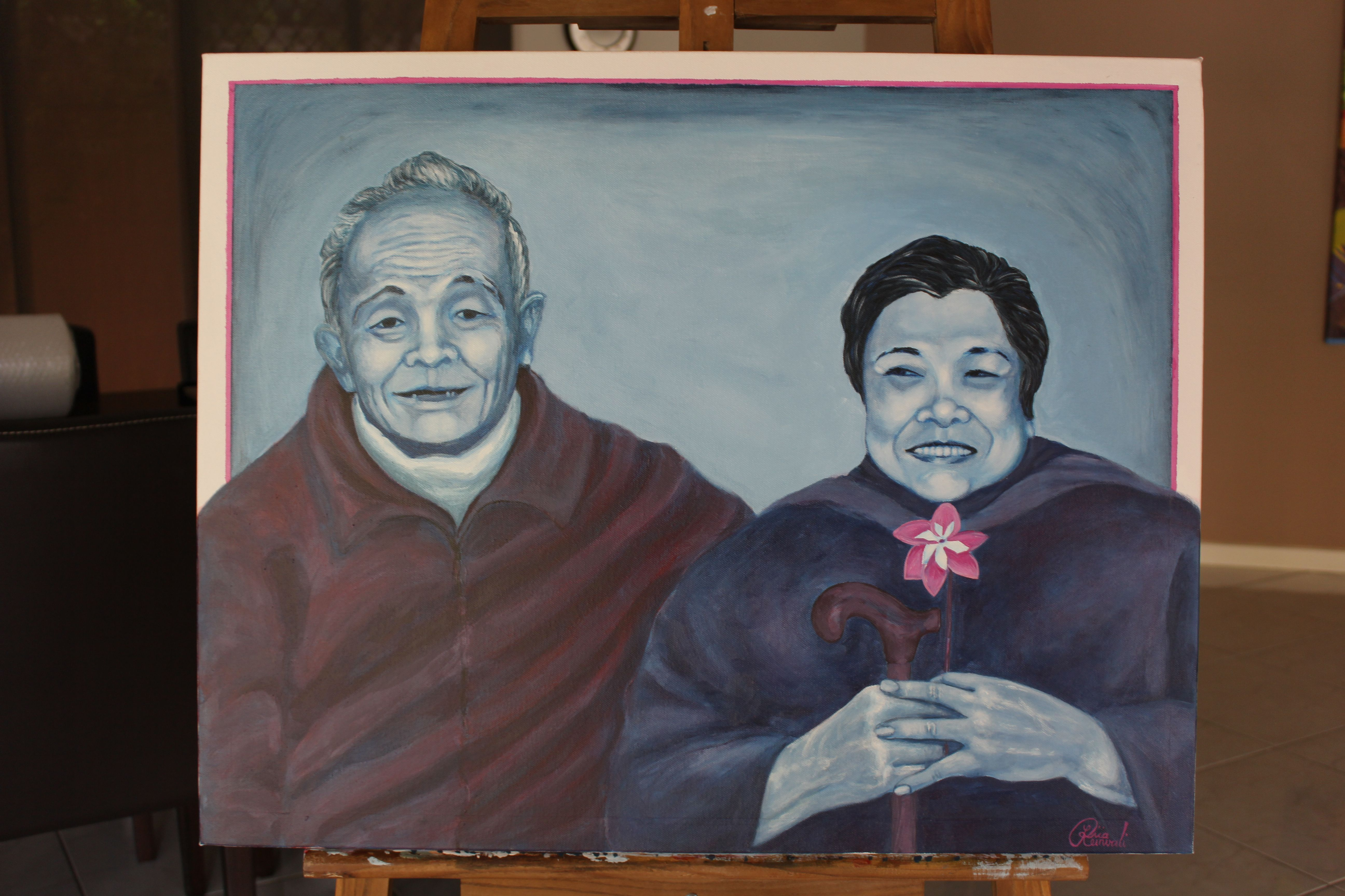 Gift to grandparents - Painted with their personality and characteristics. To enquire about ordering Pop Realism Portrait Painting please contact me: liia@liiart.com.au or www.facebook.com/liiareinvaliart   Photo required via email
