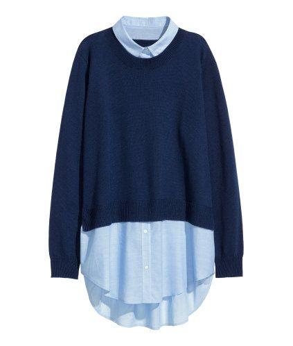 Sweater with Collar | Dark blue | Ladies | H&M US