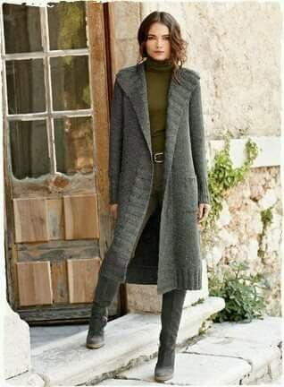 61210a4b948 Saco largo | Örgü | Suéteres de otoño, Sacos de lanilla y Abrigos tejidos