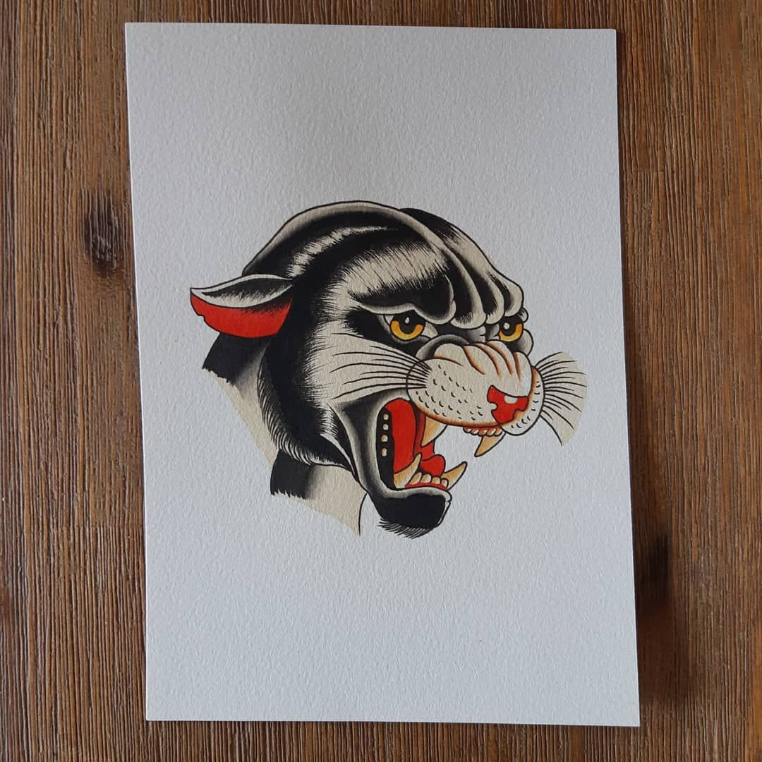 Panther from the new flash book. Available for sale. #traditional #traditionaltattoo #trad #tradtattoo #americantraditional #tradflash #traditionalflash #girlhead #ladyhead #oldlines #boldwillhold #oldworkers #paperworkers #austrad @good.people.tattooing #tattoo #tattoos #melbournetattoos #panther #panthertattoo
