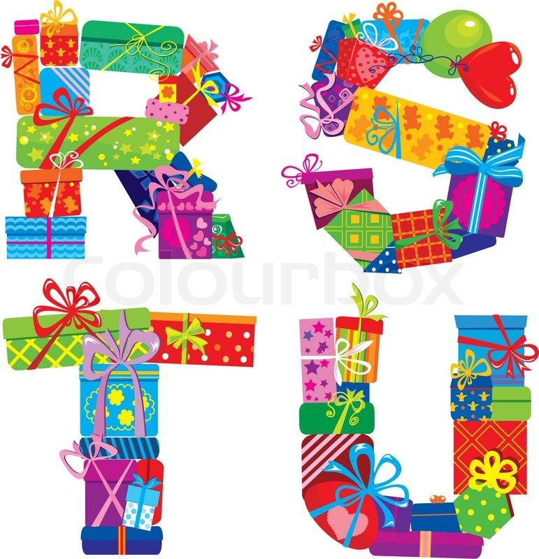 Happy Birthday Letters Are Made Of Different Gift Boxes And