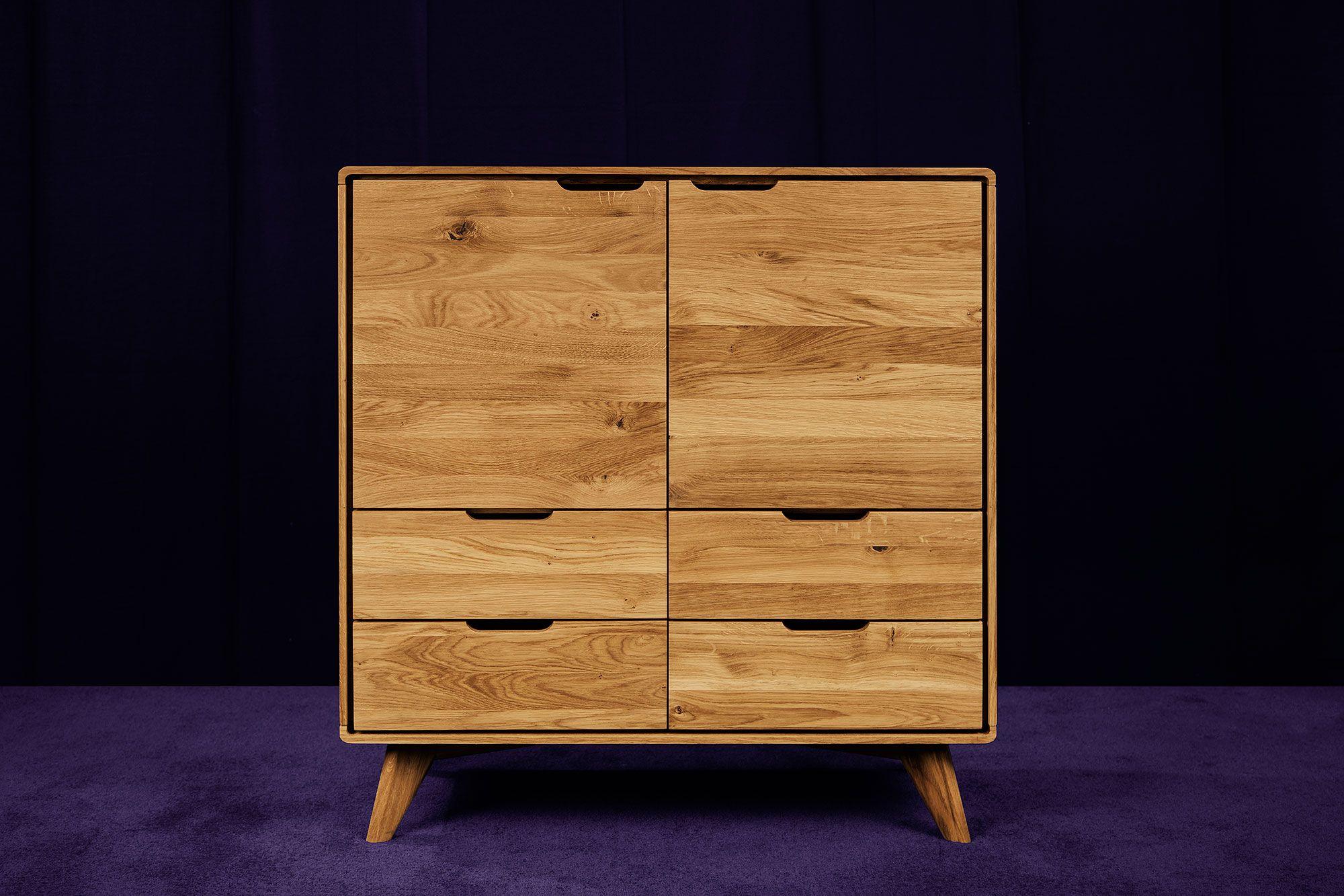Wohnzimmer spiegelmöbel sideboard der serie malmÖ aus europäischem wildeichenholz ein mix