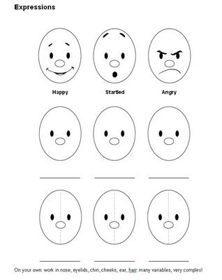 facial expressions for preschooler facial expression Colouring