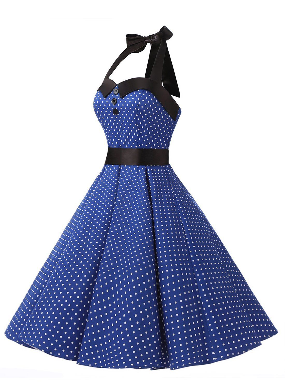 7840d4787df Amazon.com  Dressystar Vintage Polka Dot Retro Cocktail Prom Dresses 50 s  60 s Rockabilly Bandage  Clothing