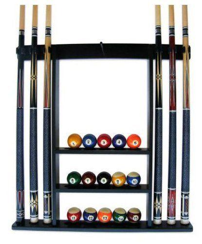 Iszy 6 Pool Cue Billiard Stick Wall Rack Made Of Wood Black Finish By Iszy Billiards 34 95 6 Pool Cue Rack Made Of Wood Pool Cue Rack Billiards Pool Ball