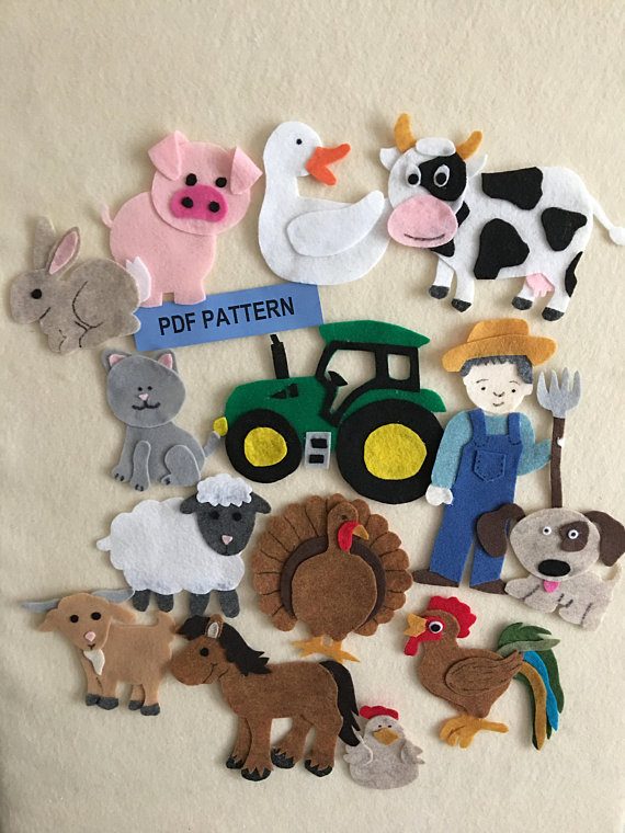 On The Farm Felt Board Pattern Features 12 Animals A Farmer And A Tractor Pdf Patterns Only Libros De Fieltro Manualidades Buho Fieltro