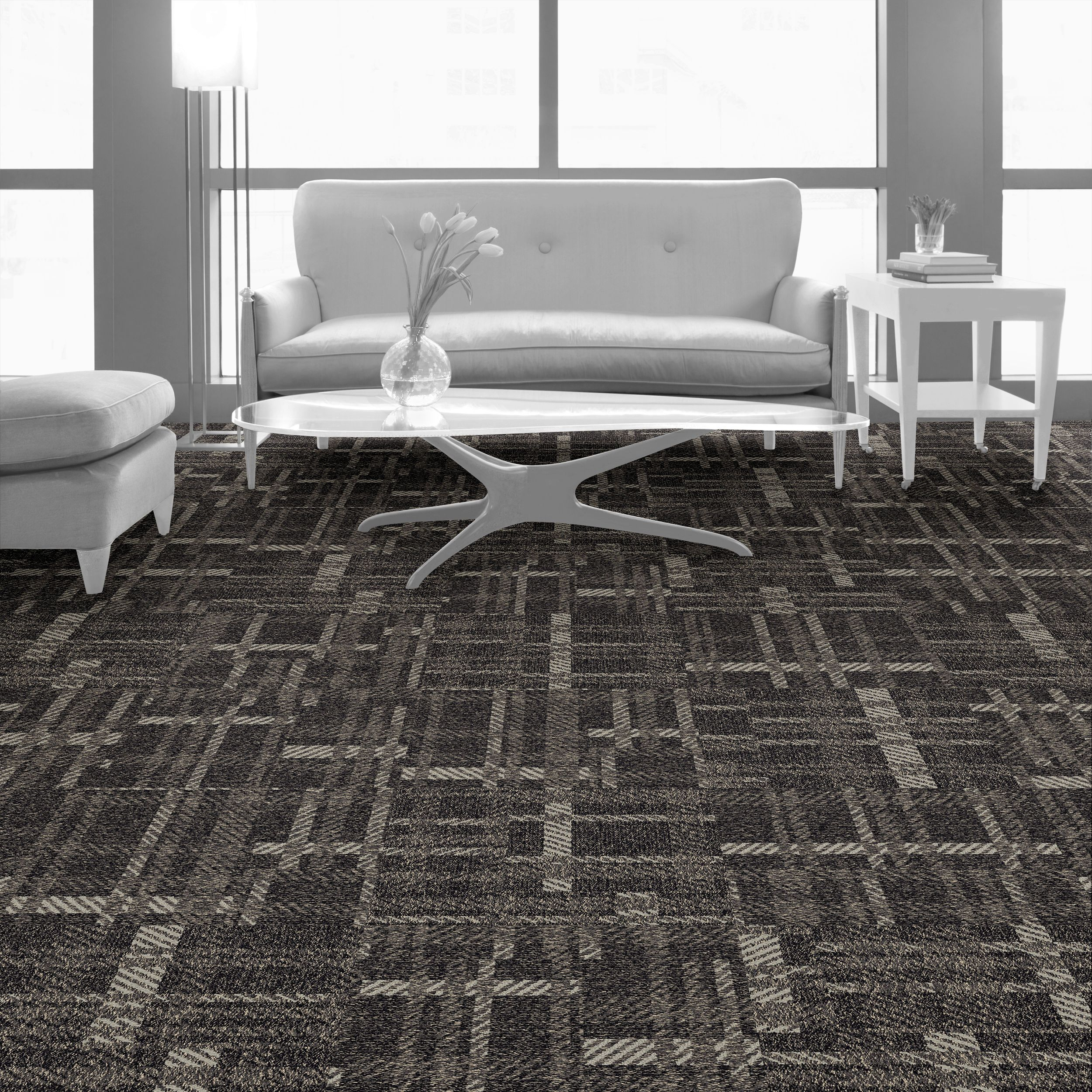 Interface carpet tile: Scottish Sett Color: Plaid Raffia 8151007 Installation method: Non Directional         Room scene: Lounge