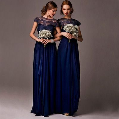 Photo of short sleeve lace bridesmaid dresses, navy bridesmaid dresse…