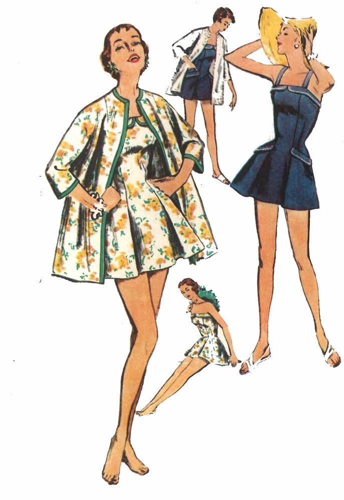 Vintage 50\'s Sewing Pattern Pleated Bathing Suit Kimono Beach Coat ...