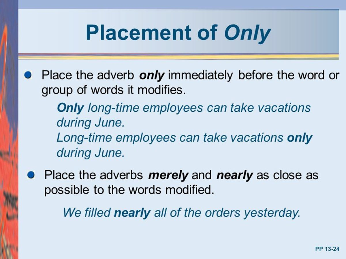 Placement Of Adverbs In English