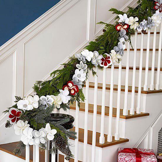 guirlande noel rampe escalier