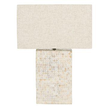 "Round Pearl Table Lamp Cream, 199. L 36"" W 15.70"" H 29.50"""
