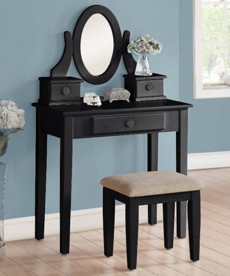 Jayle Black Fabric Wood Glass Vanity Set | Vanity Set | Pinterest