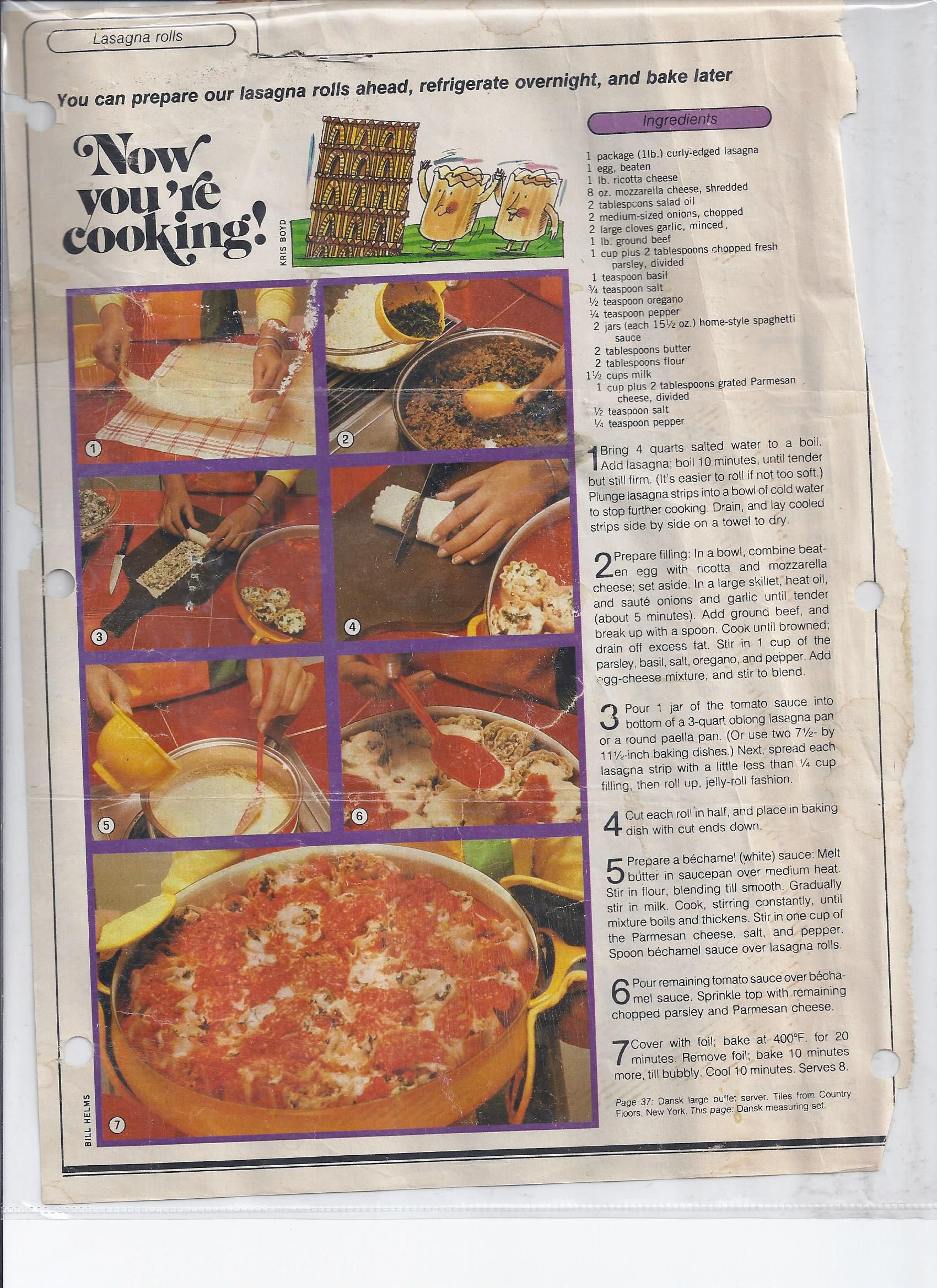 I can't believe someone had this!  This exactly the article/recipe I used when I was 16 and first learned to make lasagna and have been making some version of this ever since.  Lasagna Rolls - Seventeen Magazine 1982