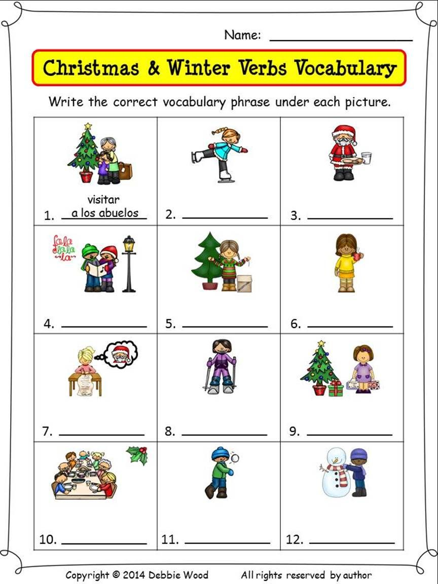 Spanish Christmas Activities Nouns and Verbs Nouns