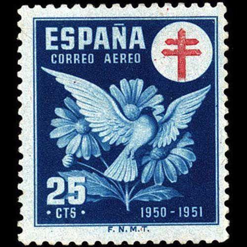 1950 22 de diciembre Pro tuberculosos, Cruz de Lorena en rojo