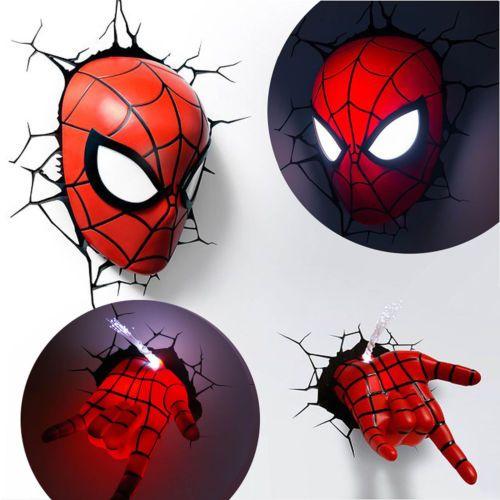 Marvel avengers spider man mask head face hand 3d deco wall led marvel avengers spider man mask head face hand 3d deco wall led night light aloadofball Gallery