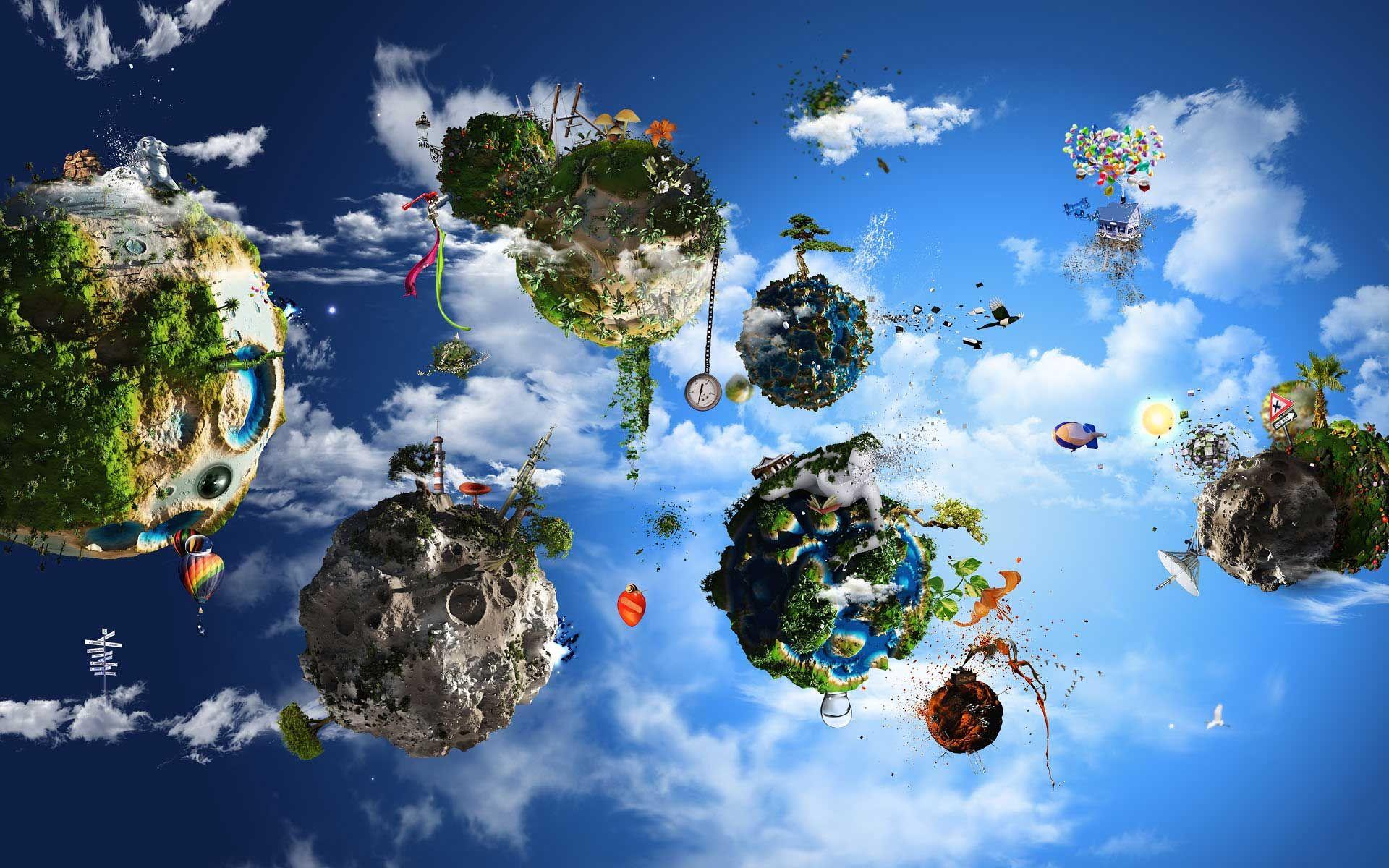 island planets fantasy desktop wallpaper fantasy wallpapers no