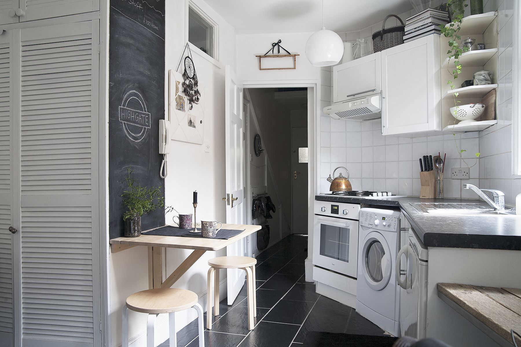 Kitchen space in a small London flat Featuring a space saving