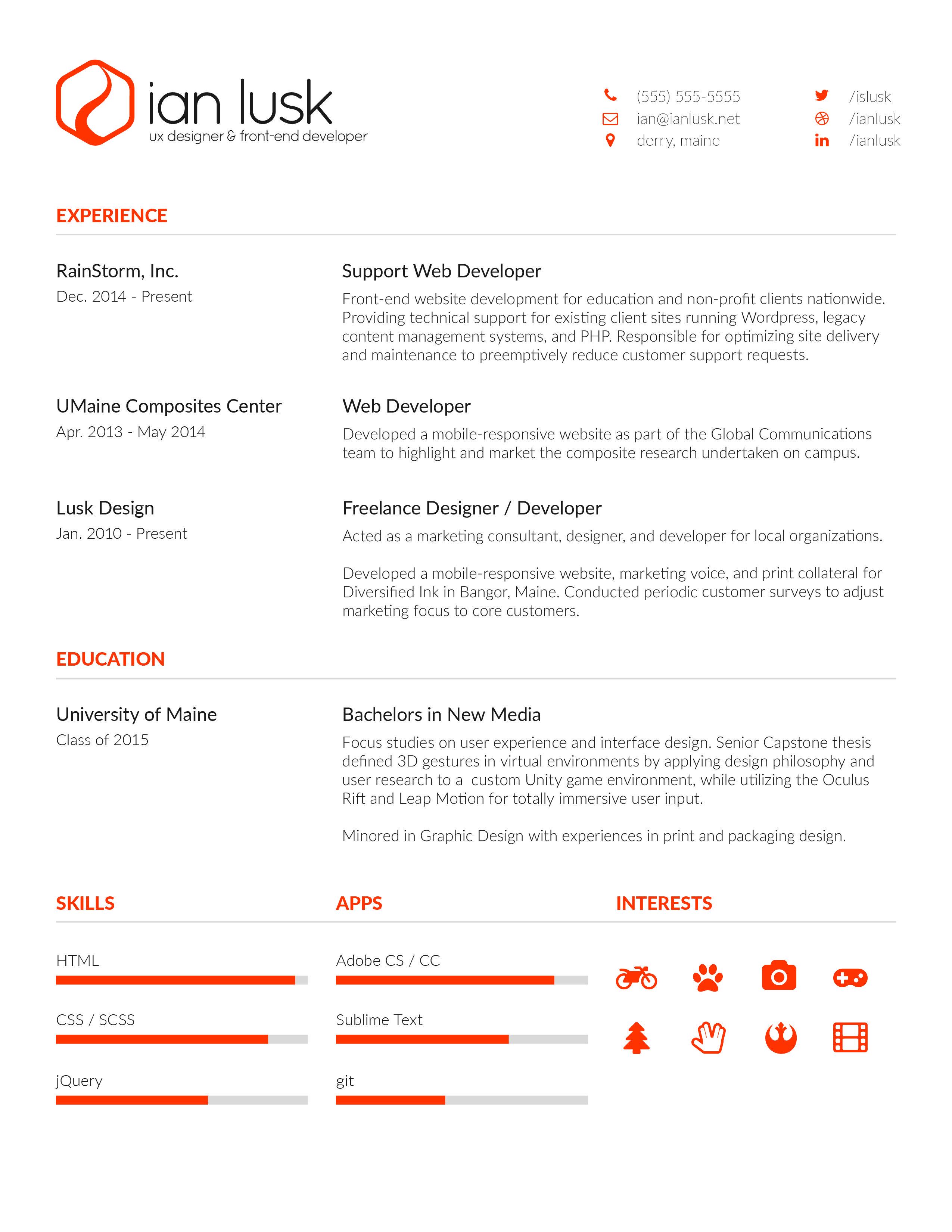 ianlusk resume early 2016  resume resume design it cv
