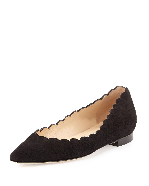 Manolo Blahnik Srila Scalloped Pointed-Toe Flat, Black, Size: 4.5B/34.5EU