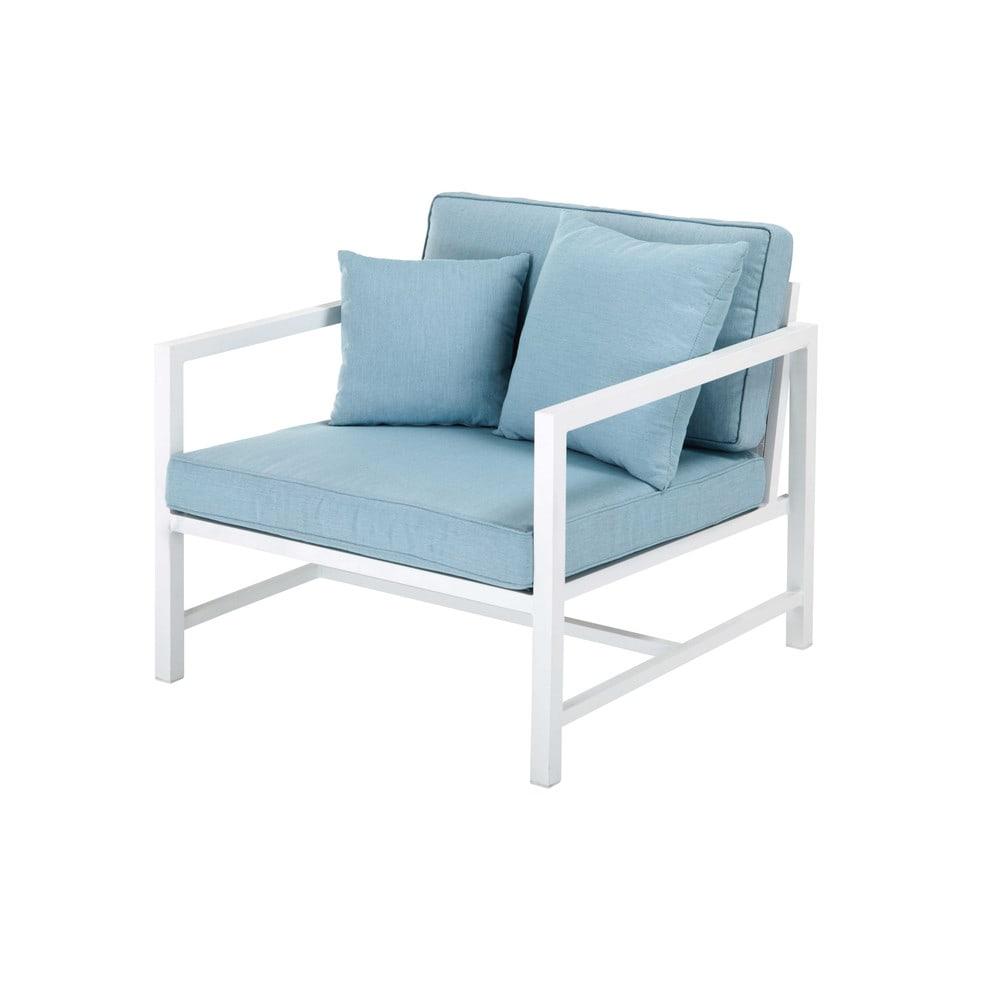 aluminium clair Fauteuil blanc et de coussins jardin bleu en 8Nvnw0m
