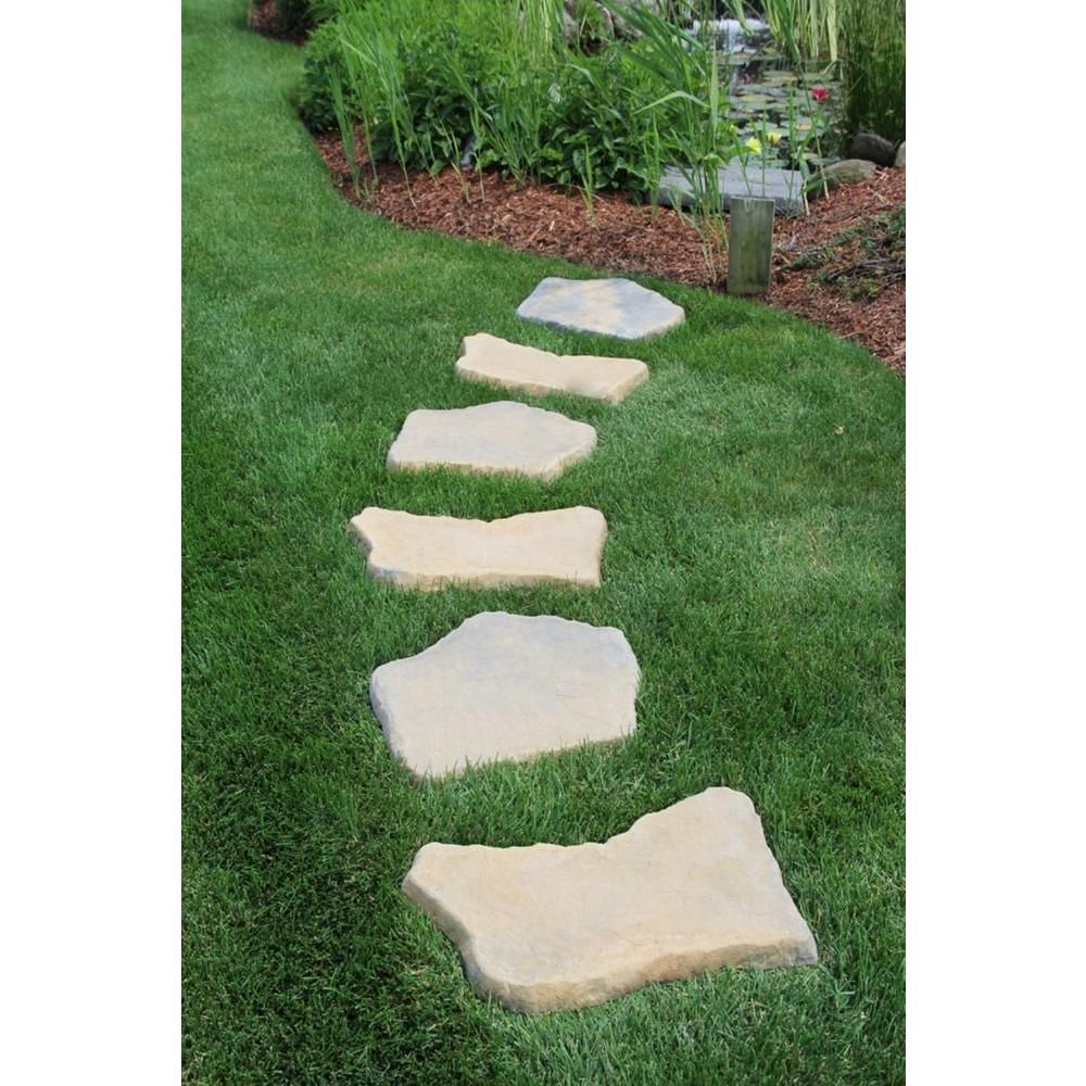 20 in. x 21 in. Irregular Concrete Tan Variegated Stepping Stones ...