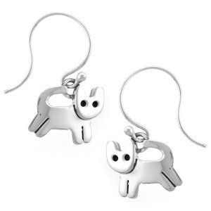 Playing Cat Dangle Sterling Silver Earrings