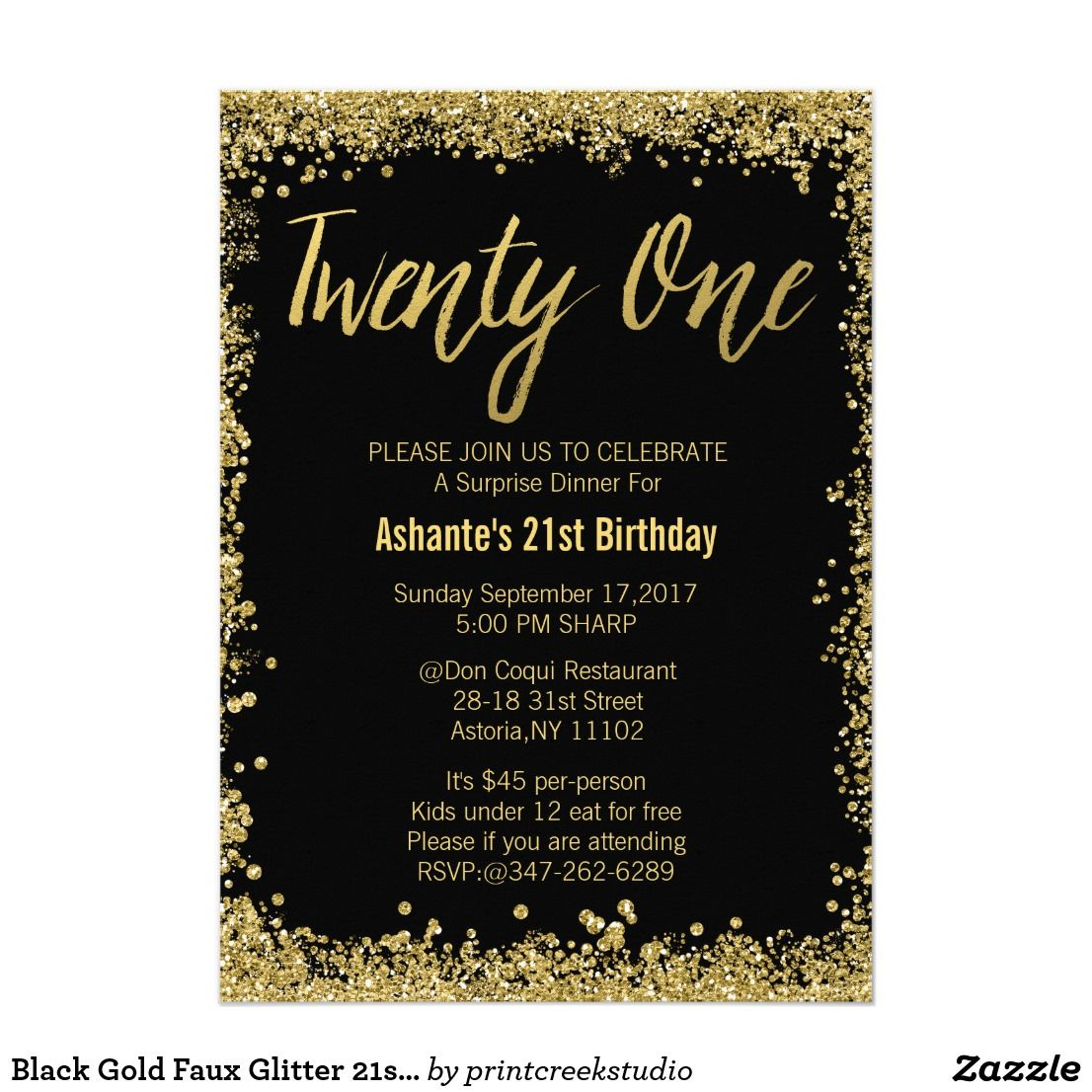 Black Gold Faux Glitter 21st Birthday Invitations | 21st birthday ...