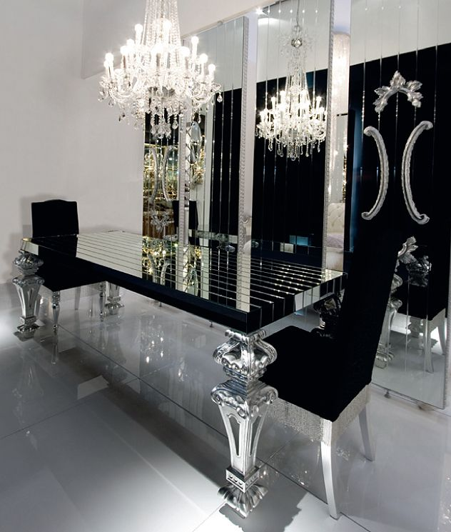 Black And Silver Dining Room Set lavish dining area design installed with round shaped mirror