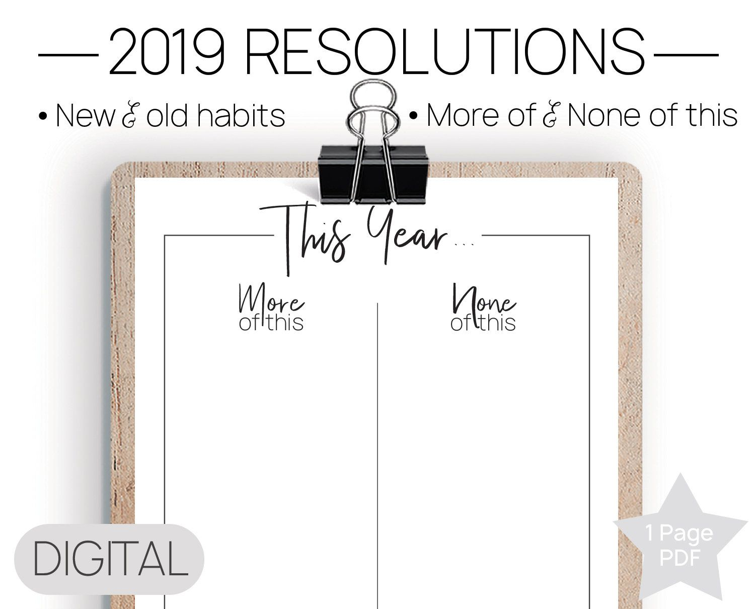 Printable 2020 Resolutions New Years PDF, Resolutions