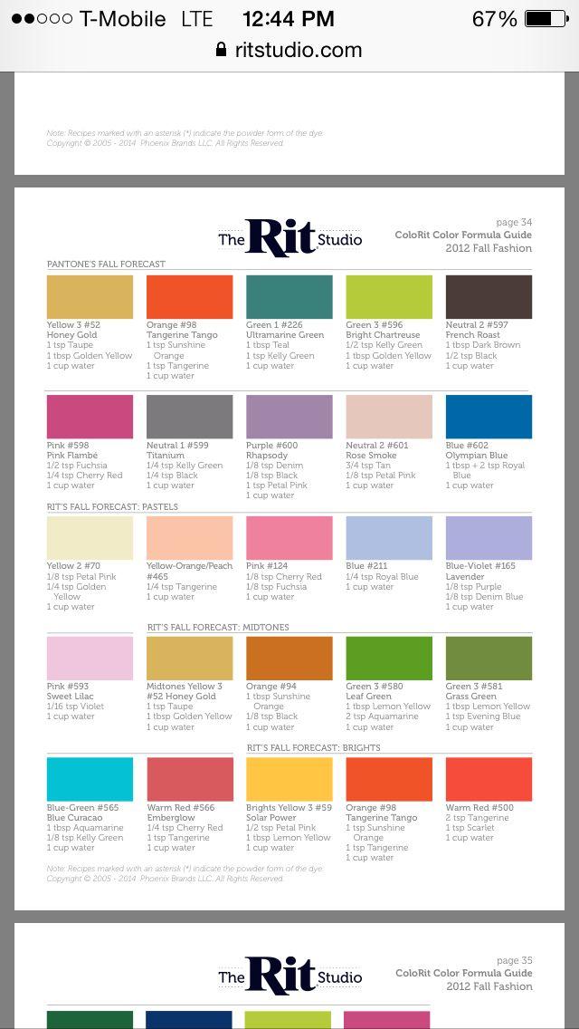 Https Www Ritstudio Com Wp Content Uploads 2014 03 Colorrit Final Pdf Diy Dye Fabric Rit Dye Colors Chart Diy Dye