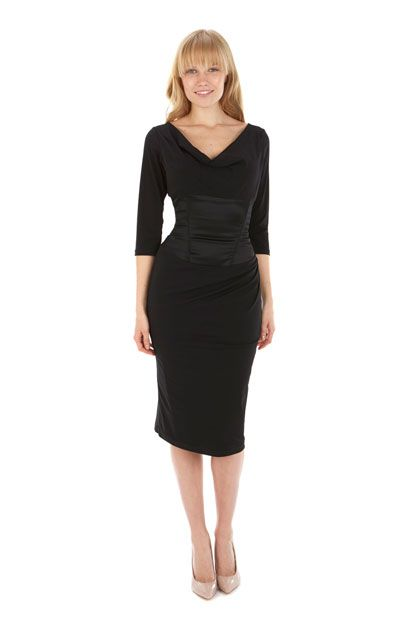 Embassy Black ¾ Sleeve Pencil Dress
