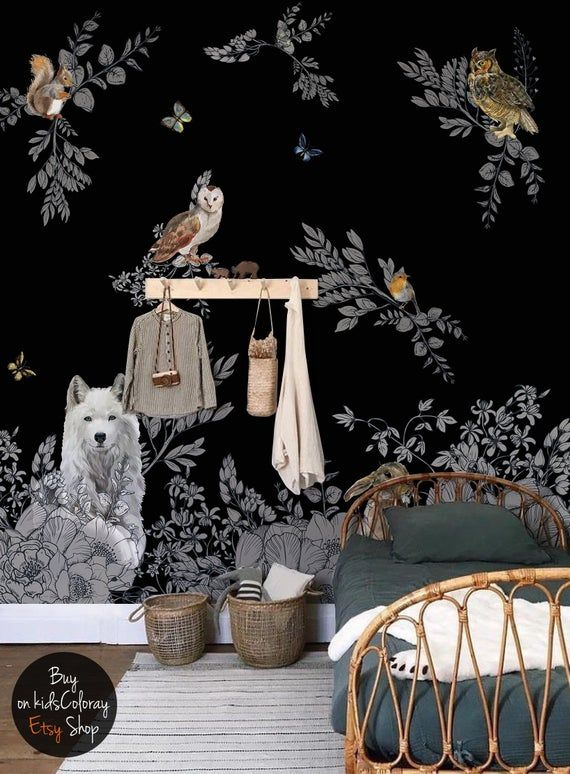 Dark Enchanted Forest Wall Mural Vintage Wild Animals Etsy Forest Wall Mural Dark Nursery Wall Murals