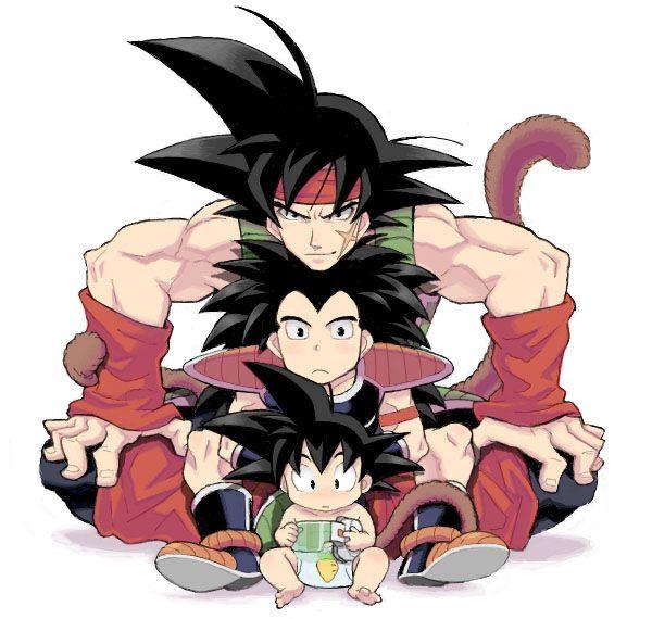 Bardock with sons Raditz and Kakarot (Goku)