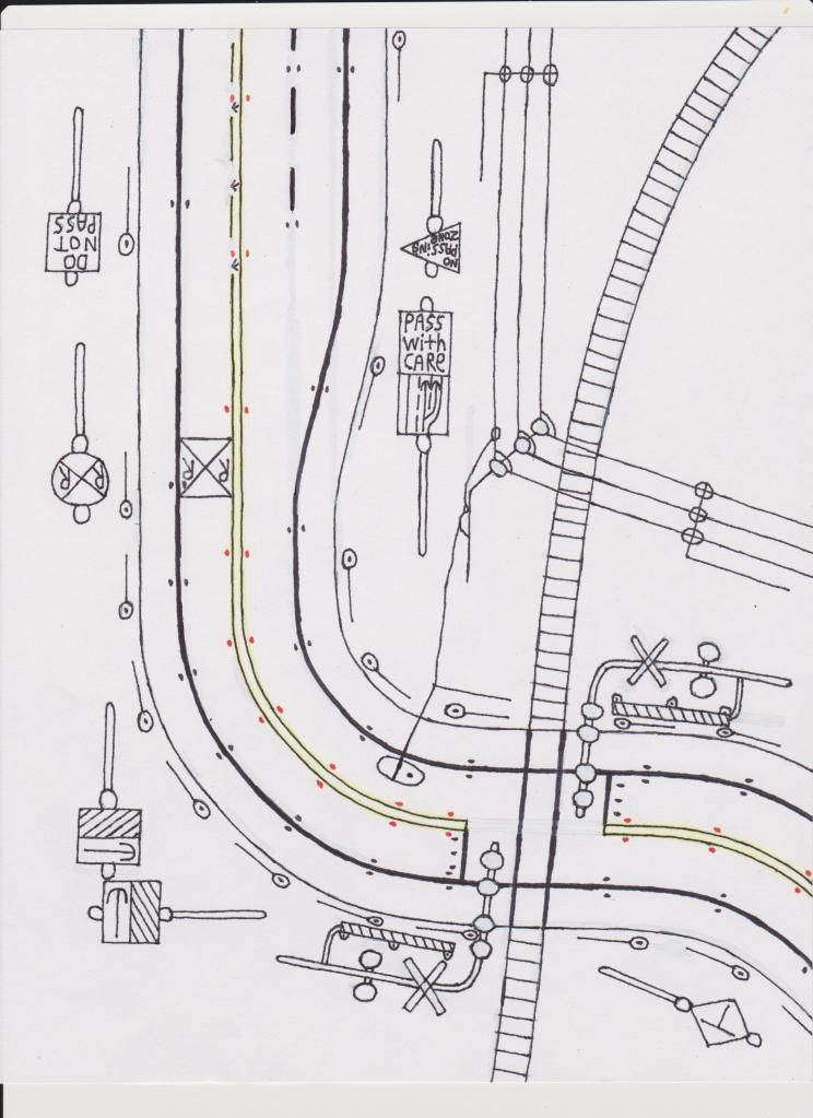 2-lane road drawing with train tracks and power lines. | Road ...