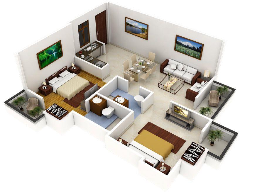 Plano 3d De Casa Con Dos Dormitorios Construye Hogar Hacer Planos De Casas Distribucion De Casas Pequenas Planos Para Construir Casas