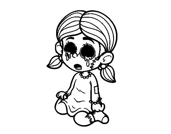 Dibujo de Niña terrorífica para colorear