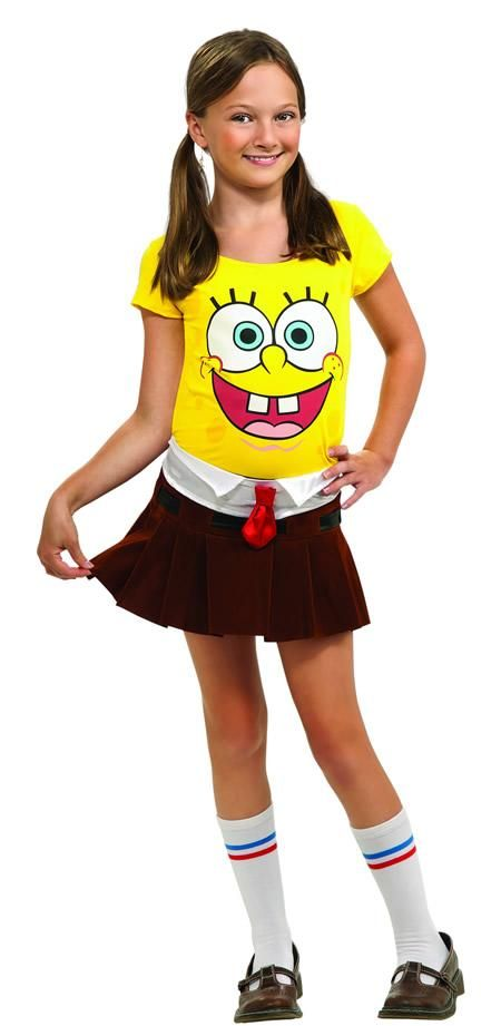 Have fun wearing this SpongeBabe #Costume for girls this Halloween. Everyone will rave about this SpongeBabe Girl #Costume that includes a #SpongeBob printed dress only and comes in various children's sizes.
