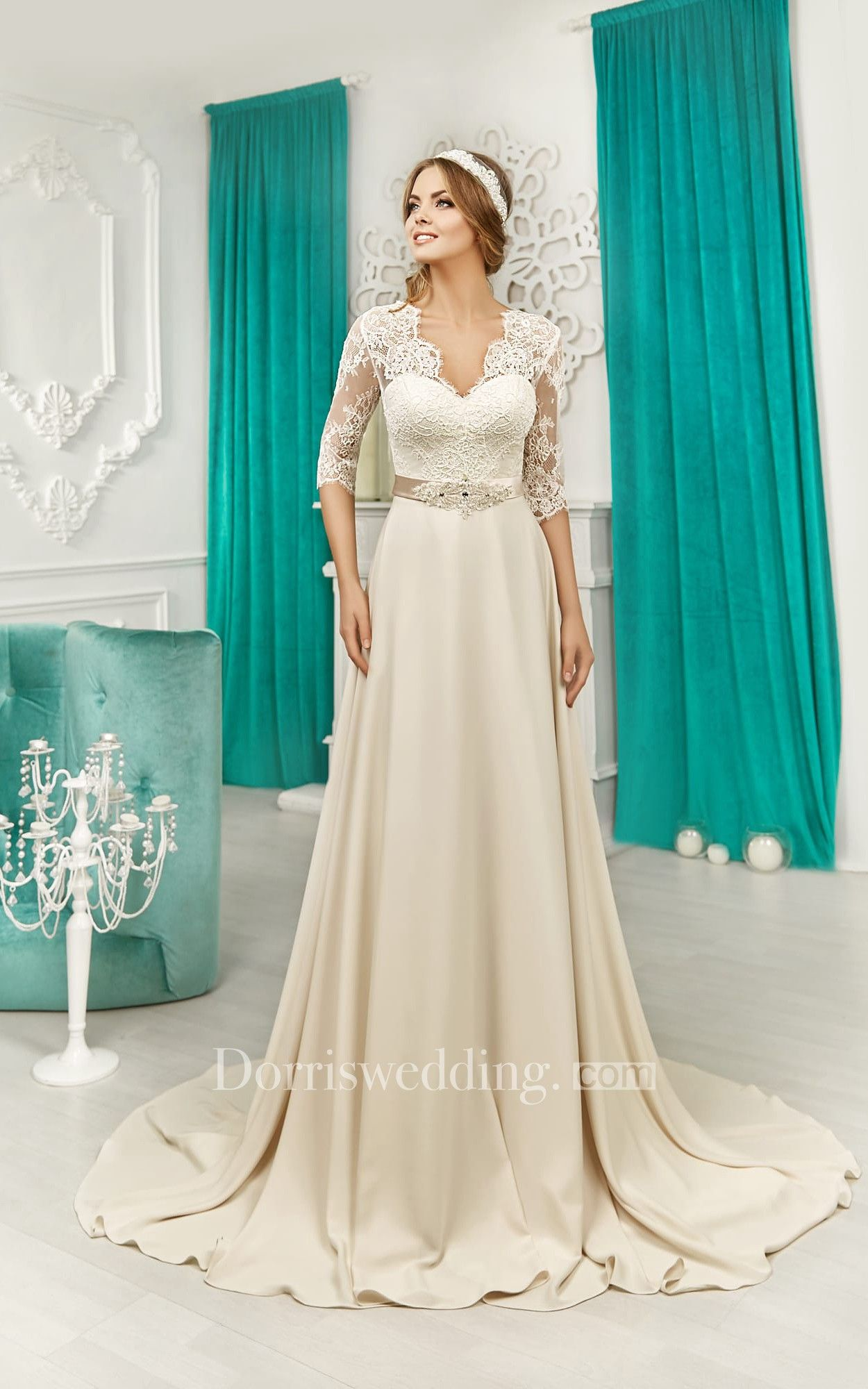V-neck Half Sleeve Lace Top V Back Satin Dress | Satin dresses ...