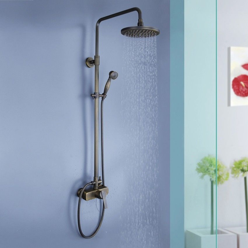 8\'\' Wall Mount Antique Brass Shower System with Rain Shower Head ...