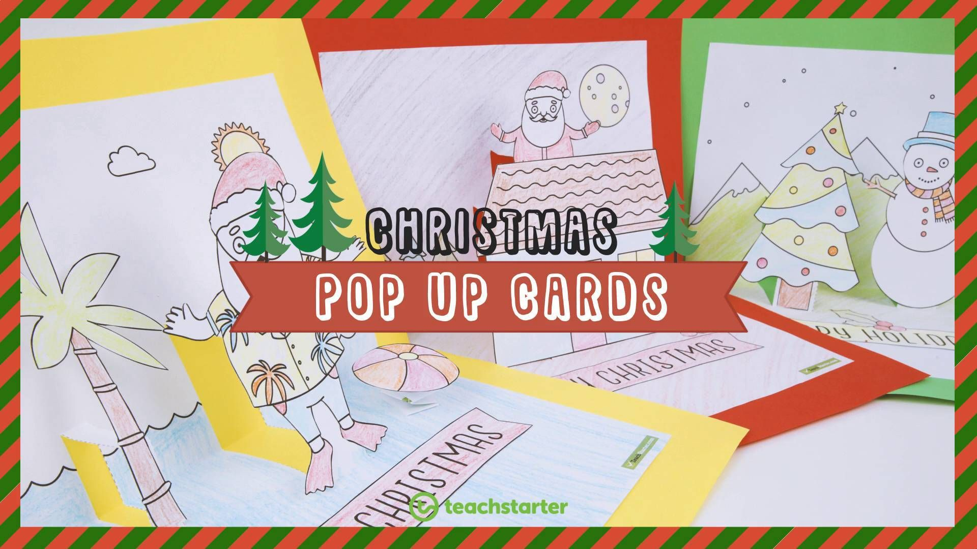 Christmas Craft - Summer and Winter Pop Up Card Templates ...