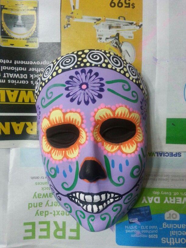 Dia de los muertos ceramic mask by Naomi Perez