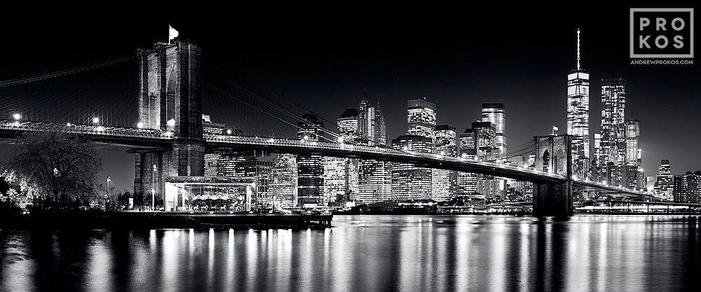 POSTER PANORAMICO PANORAMIC NEW YORK CITY PHOTOGRAPHY MANHATTAN BROOKLYN BRIDGE