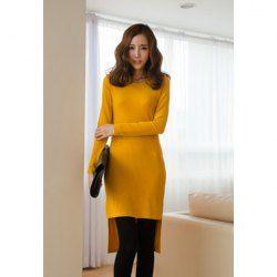 $8.00 Slim Fit Scoop Neck Irregular Hem Long Sleeve Dresses For Women