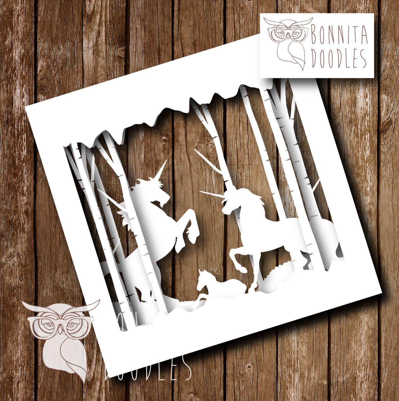 layered forest paper cut unicorn personal unicorns layering and etsy